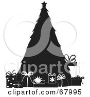 Royalty Free RF Clipart Illustration Of Presents Resting Around A Silhouetted Christmas Tree