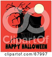Royalty Free RF Clipart Illustration Of A Dark Haunted House And Bare Tree Under A Full Moon With Black Happy Halloween Text On Orange by Pams Clipart