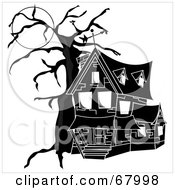 Royalty Free RF Clipart Illustration Of A Black And White Haunted House With Spirits In The Windows Under A Full Moon by Pams Clipart