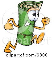 Clipart Picture Of A Green Carpet Mascot Cartoon Character Running