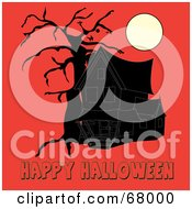 Royalty Free RF Clipart Illustration Of A Dark Haunted House And Bare Tree Under A Full Moon With Happy Halloween Text On Orange by Pams Clipart
