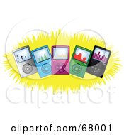 Royalty Free RF Clipart Illustration Of Colorful Mp3 Players On A Yellow Burst by Pams Clipart