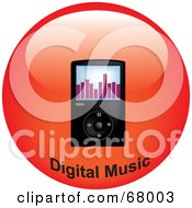 Royalty Free RF Clipart Illustration Of A Black Mp3 Player On A Red Circle