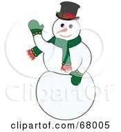 Royalty Free RF Clipart Illustration Of A Jolly White Snowman Wearing A Green Scarf And Mittens by Pams Clipart