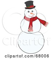 Royalty Free RF Clipart Illustration Of A Jolly White Snowman Wearing A Red Scarf And Hat by Pams Clipart