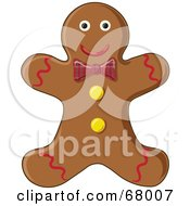 Royalty Free RF Clipart Illustration Of A Happy Gingerbread Man Cookie With A Red Plaid Bow by Pams Clipart
