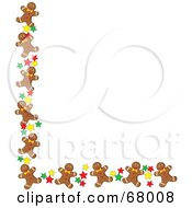 Royalty Free RF Clipart Illustration Of A Corner Border Of Happy Gingerbread Men Cookies And Stars