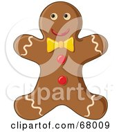 Royalty Free RF Clipart Illustration Of A Happy Gingerbread Man Cookie With A Yellow Bow by Pams Clipart