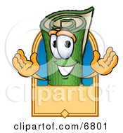 Green Carpet Mascot Cartoon Character With A Blank Tan Label