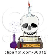 Royalty Free RF Clipart Illustration Of A Candle On A Skull Resting On A Stack Of Books by Pams Clipart