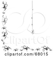 Royalty Free RF Clipart Illustration Of A Creepy Spider Hanging Down On A String With A Border Of Black Widows by Pams Clipart