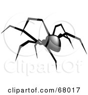 Royalty Free RF Clipart Illustration Of A Creepy Black Widow Spider Walking Away by Pams Clipart
