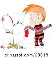 Royalty Free RF Clipart Illustration Of A Sad Red Haired Boy Discovering Coal In His Christmas Stocking by Pams Clipart