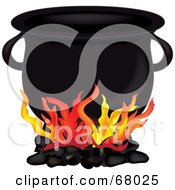 Royalty Free RF Clipart Illustration Of A Fire Burning Under A Black Cauldron by Pams Clipart