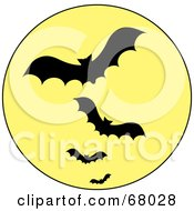 Royalty Free RF Clipart Illustration Of A Line Of Vampire Bats Silhouetted Against A Full Yellow Moon