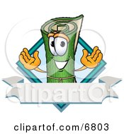Green Carpet Mascot Cartoon Character With A Blank Label