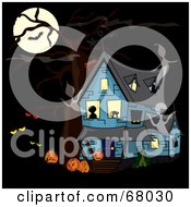 Blue Haunted House With Ghosts Creepy Eyes And Pumpkins Under A Full Moon