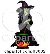 Royalty Free RF Clipart Illustration Of A Wicked Witch Stirring A Spell In A Cauldron by Pams Clipart
