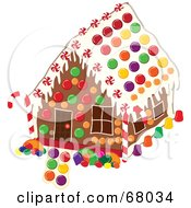 Royalty Free RF Clipart Illustration Of A Christmas Gingerbread House Decorated With Colorful Candies