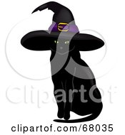 Royalty Free RF Clipart Illustration Of A Sitting Black Cat With Green Eyes Wearing A Witch Hat by Pams Clipart