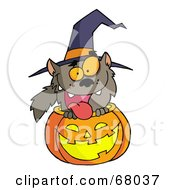 Royalty Free RF Clipart Illustration Of A Happy Werewolf In A Carved Halloween Pumpkin