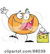 Royalty Free RF Clipart Illustration Of A Pumpkin Character Waving And Carrying A Green Trick Or Treat Bag
