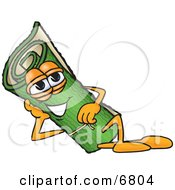 Clipart Picture Of A Green Carpet Mascot Cartoon Character Reclined And Resting His Face On His Hand
