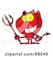 Royalty Free RF Clipart Illustration Of A Red Halloween Devil With A Trident