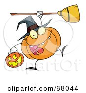 Royalty Free RF Clipart Illustration Of A Leaping Pumpkin Character Witch With A Jackolantern And Broom