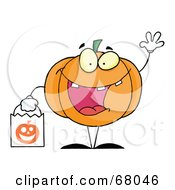 Royalty Free RF Clipart Illustration Of A Pumpkin Character Waving And Carrying A White Trick Or Treat Bag