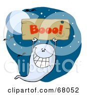 Royalty Free RF Clipart Illustration Of A Grinning Ghost Holding Up A Wooden Boo Sign Against A Night Sky