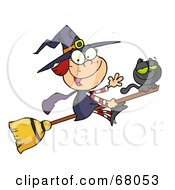 Royalty Free RF Clipart Illustration Of A Happy Halloween Witch And Cat Flying On A Broom Stick