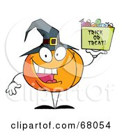 Royalty Free RF Clipart Illustration Of A Pumpkin Character Holding Up A Tub Of Candy