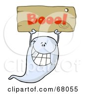Royalty Free RF Clipart Illustration Of A Grinning Ghost Holding Up A Wooden Boo Sign