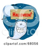 Royalty Free RF Clipart Illustration Of A Grinning Ghoul Holding Up A Wooden Halloween Sign