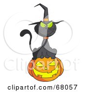 Royalty Free RF Clipart Illustration Of A Black Witch Cat Sitting On Top Of A Jack O Lantern