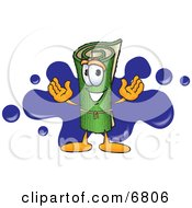 Green Carpet Mascot Cartoon Character With A Blue Splatter