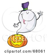 Royalty Free RF Clipart Illustration Of A Ghost Waving And Emerging From A Halloween Pumpkin