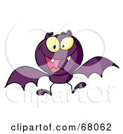 Royalty Free RF Clipart Illustration Of A Hyper Purple Vampire Bat by Hit Toon