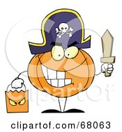Royalty Free RF Clipart Illustration Of A Pumpkin Character Trick Or Treating In A Pirate Costume by Hit Toon
