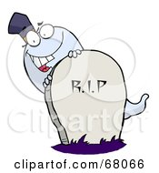 Royalty Free RF Clipart Illustration Of A White Halloween Ghost Looking Around A Tombstone