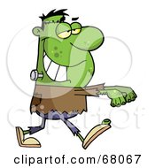 Royalty Free RF Clipart Illustration Of A Walking Green Frankenstein With His Arms Out