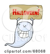 Royalty Free RF Clipart Illustration Of A Grinning Ghost Holding Up A Wooden Halloween Sign