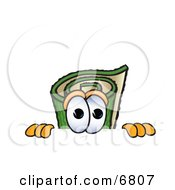 Clipart Picture Of A Green Carpet Mascot Cartoon Character Scared Peeking Over A Surface