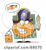 Royalty Free RF Clipart Illustration Of A Pumpkin Character Thinking Of Candy Trick Or Treating In A Pirate Costume by Hit Toon