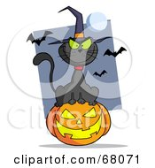 Royalty Free RF Clipart Illustration Of An Evil Black Witch Cat Sitting On A Jack O Lantern With Bats And A Full Moon