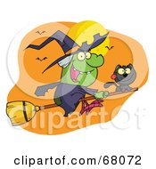 Royalty Free RF Clipart Illustration Of A Wicked Halloween Witch And Cat Flying By Bats And A Full Moon On A Broom Stick