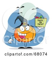 Royalty Free RF Clipart Illustration Of A Pumpkin Character With Halloween Candy Under Bats And A Full Moon