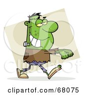 Royalty Free RF Clipart Illustration Of A Green Frankenstein With His Arms Out Over Tan by Hit Toon
