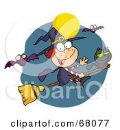 Royalty Free RF Clipart Illustration Of A Happy Halloween Witch And Cat Flying Through Bats On A Broom Stick